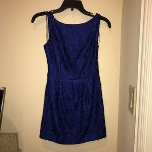 Vibrant blue lace mini dress - XS